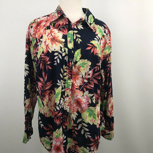 Talbots Floral Long Sleeve Buttoned Top Size XL
